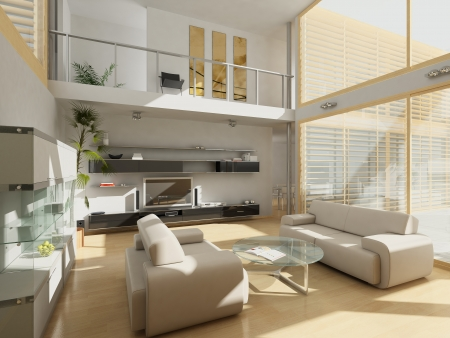 living room window: Modern living-room with large windows. Stock Photo