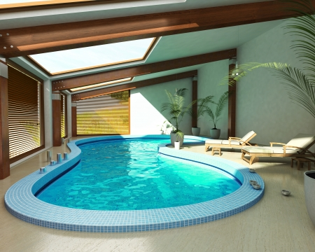 Indoor spa pool with chairs, plants and Large windows.