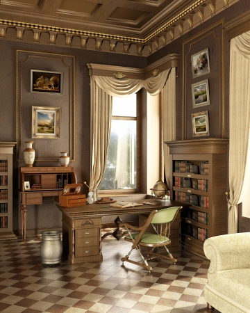 Classic old studio room. With working place desk and anttique objects. Window on garden.