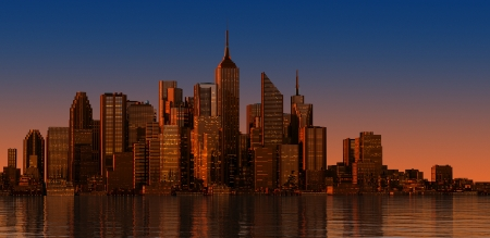 Modern cityscape at sunset time Wide format Generic representation, no landamark