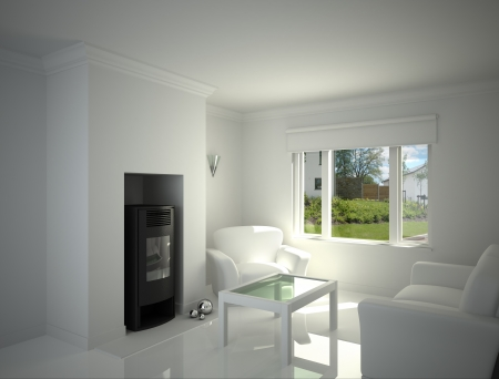 fire place: White living-room, with fire place