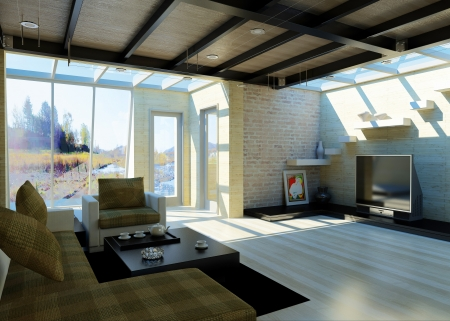 Modern living-room with large windows  photo