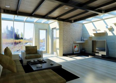 divan: Moderna sala de estar con grandes ventanas