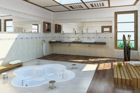 bathroom mirror: Large Luxury bathroom with bathub into the floor