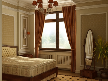 cortinas: Cl�sico antiguo dormitorio de estilo con la ventana Foto de archivo