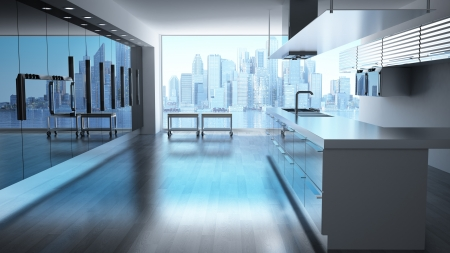 Modern High tech kitchen with view on skyscrapers cityscape
