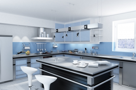 stainless steel kitchen: Modern kitchen with isle with stools and dishes and mugs  Stock Photo