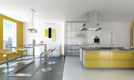 Modern white and yellow kitchen with isle and table  photo