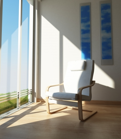 Contemporary Chair on a room corner, beside a large window in the sun  photo