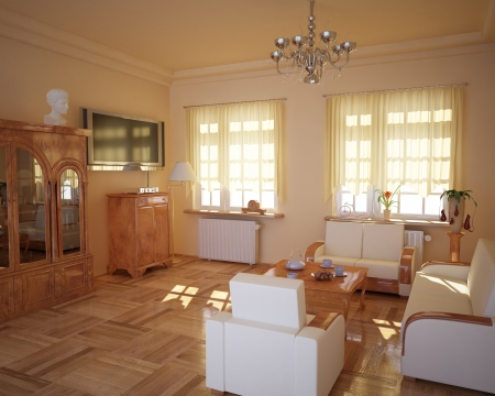Classic style living-room, with sun behind the curtains  photo