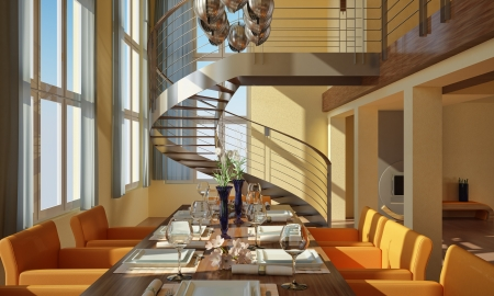Modern dining-room with wide windows, table set, spiral staircase and fireplace photo