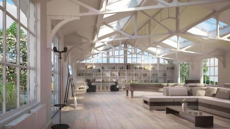 snooker room: Interni loft di lusso, con la vecchia struttura in metallo sul soffitto e un'atmosfera speciale Archivio Fotografico