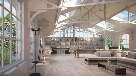 Luxury loft interiors, with old metal structure on ceiling and special atmosphere  photo
