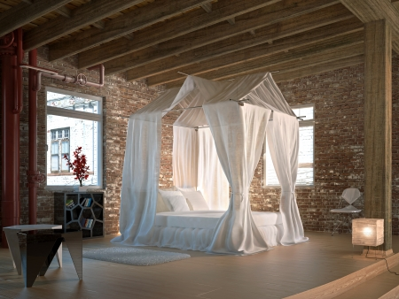 view of a comfortable bedroom: Luxury loft bedroom, with four poster bed  Wooden floor and ceiling and walls made of old bricks, with some pipe conductures