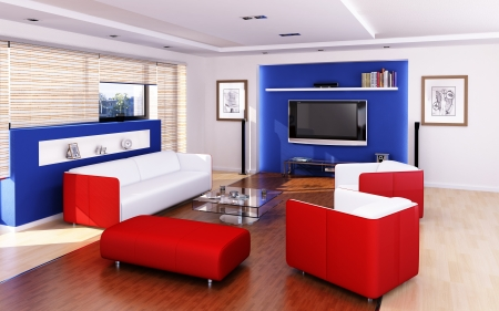 Living-room modern style  With red and white chairs and sofa �  Stock Photo - 19893793