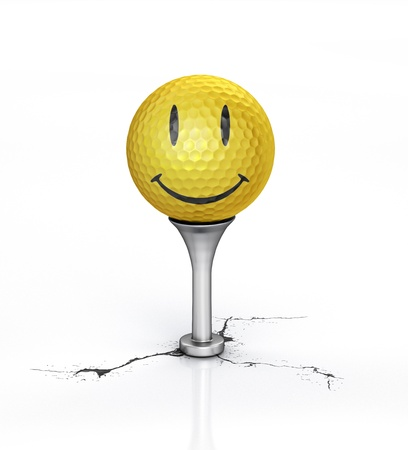 play golf: Yellow Golf ball with the texture of smile, placed on tee, over a white reflective surface, with a break on the floor  Clipping path included