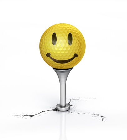 golf tee: Yellow Golf ball with the texture of smile, placed on tee, over a white reflective surface, with a break on the floor  Clipping path included