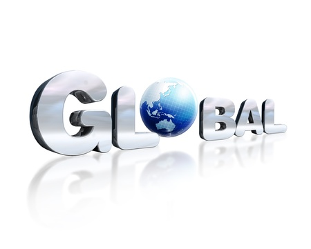 3 d illustrations: 3 D chromed lettering with the word Global and Earth globe in place of the O  On white reflective surface  Viewed in slight perspective  Stock Photo