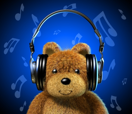 Teddy bear with music headphones  Frontal view with Blue background and musical notes  photo