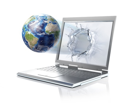 coming out: Earth globe, coming out from a laptop computer, forming a liquid splash on the screen  Isolated on white background with clipping path included  Stock Photo