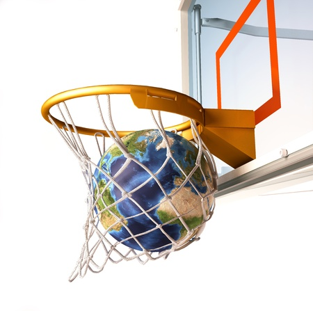 Planet Earth falling into the basketball basket by a perfect shot. 3 D digital rendering, On white background.(image sources were offered by NASA. These images were improved and enhanced to achieve these maps) photo