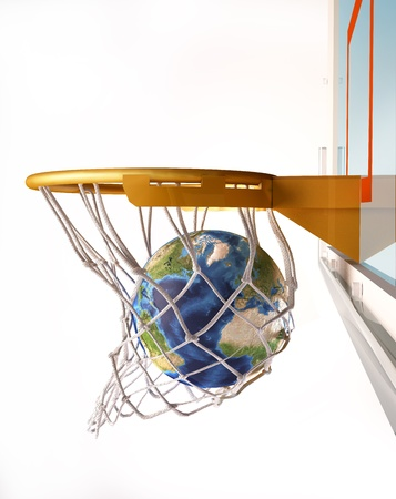 offered: Earth globe centering the basket (of basketball), with the globe inside the net, close up view, on white background.(image sources were offered by NASA. These images were improved and enhanced to achieve these maps)