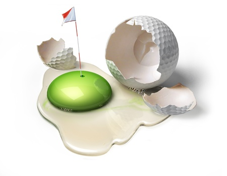 Golf ball as a broken egg with green yolk, representing the game field with hole and flag. Reklamní fotografie