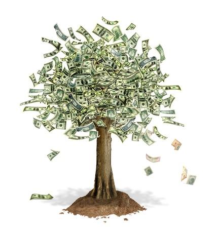 Money Tree met Amerikaanse dollar biljetten in plaats van bladeren, met enkele noten vallen. Op een witte achtergrond.