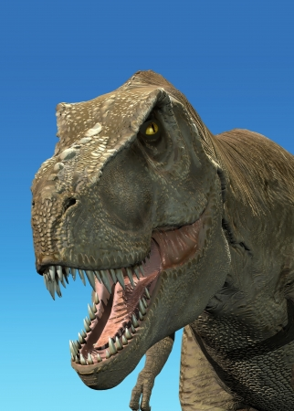 Photorealistic 3 D rendering of a Tyrannosaurus Rex. On blue background with clipping path included. photo
