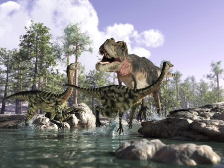 Photorealistic 3 D scene of a Tyrannosaurus Rex, hunting two Gallimimus, running in a river with rocks and trees in the background. Depth of field. Stock Photo