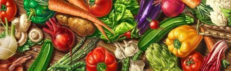 ensalada de frutas: muchas verduras sentar en una mesa