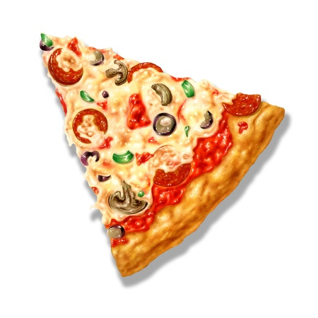 Pizza triangle shape, with mozzarella cheese and several ingredients on it. Airbrush illustration. On white background with clipping path included. illustration