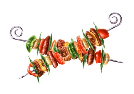Two crossed skewers kebab with mixed mest and vegetables  Colorfull airbrush illustration, on white background