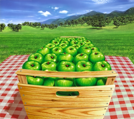 Green apples into a wooden box on a table, with landscape and apple trees in the background   photo