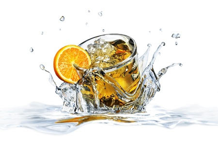 Cocktail glass, falling into clear water, forming a crown splash  On white background, with depth of field