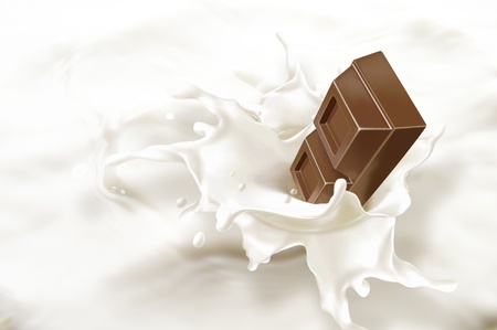 causing: Chocolate block falling into a sea of milk, causing a splash  Very close up view