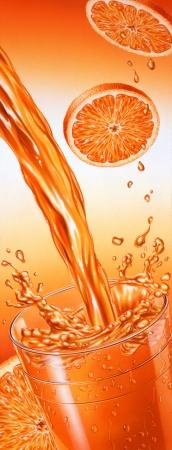 Puor Orangensaft in ein Glas fallen mit Splash Orange Scheiben auf dem Hintergrund Airbrush Illustration Hochformat Standard-Bild - 19918883