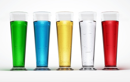liquids: Five tall glasses full of Multicolored liquids  With tiny fizzy bubbles  On white surface and background  Wide format  Stock Photo