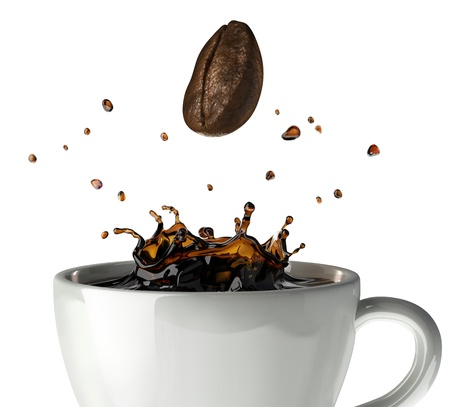 Coffee crown splash in mug. Close-up view, with a bean falling down. On white background Standard-Bild