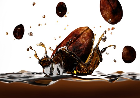 Coffee bean falling into a dark liquid, forming a crown splash, with a few other beans falling around, viewed from a side, very close up.