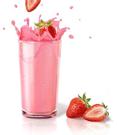 fiambres: Fresas chapoteando en un vaso de batido de leche, con dos straberries en el suelo. Sobre fondo blanco y la reflexi�n en la superficie.