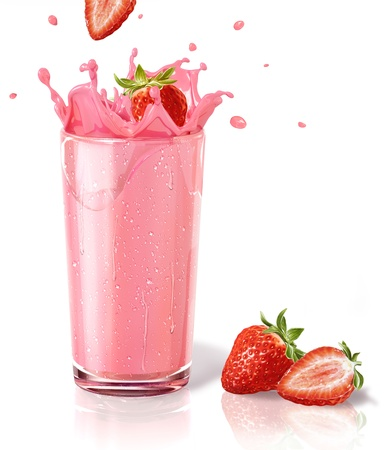 shake: Strawberries splashing into a milkshake glass, with two straberries on the floor. On white background and reflection on surface. Stock Photo