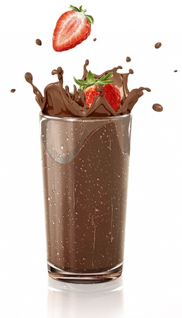 choco: Strawberries splashing into a chocolate milkshake glass, with condensation droplets. On white background.