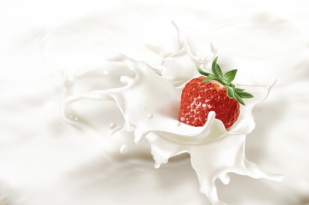 Strawberry falling into a sea of milk, causing a splash. Very close up view. photo