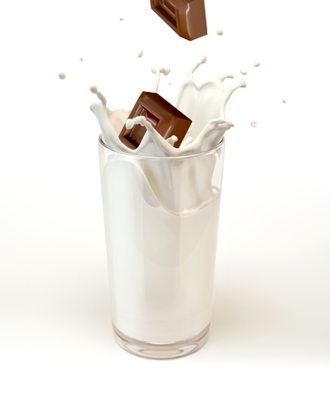 Chocolate cubes splashing into a milk glass. On white background.