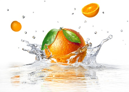 orange splashing into clear water and two other half faling, on white background.