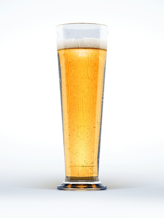 beerglass: Tall glass of lager beer with condensation droplets, on white background