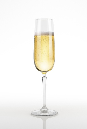 bubbly: Champagne glass on white surface and background. With clipping path.