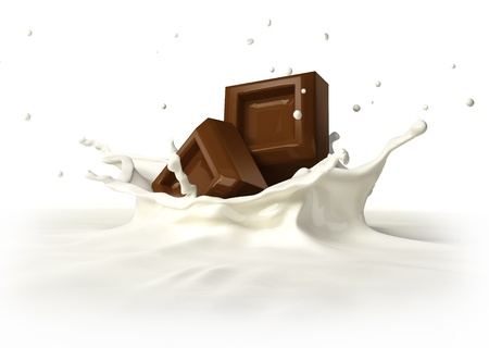 chocolate bars: Two chocolate blocks falling into milk forming a crown splash  On white background, with clipping pathincluded  Stock Photo