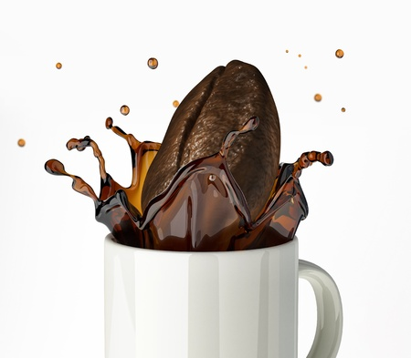 Giant Coffee bean splashing in mug  Close up view  On white background  photo